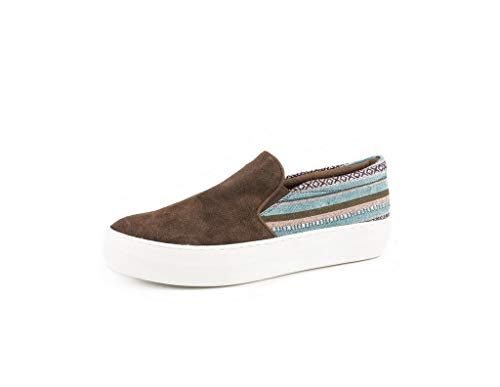 Roper Women's Darcy Suede Woven Stripe Slip On Shoes Round Toe Brown 5 M