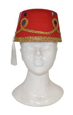 Hoed Arabisch rood met witte pompon en gouden versiering - volwassenen