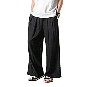 KOGARASI サルエルパンツ メンズ ワイドパンツ 麻 夏用 スウェット 薄手 ゆったり 大きいサイズ ビッグシルエット ゴム紐付き ポケット付き 無地 春 秋 ユニセックス
