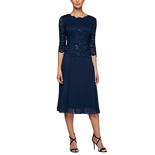 Alex Evenings Damen Tea Length Sequin Mock Dress Petite and Regular Size Kleid für besondere Anlässe, Navy, 40