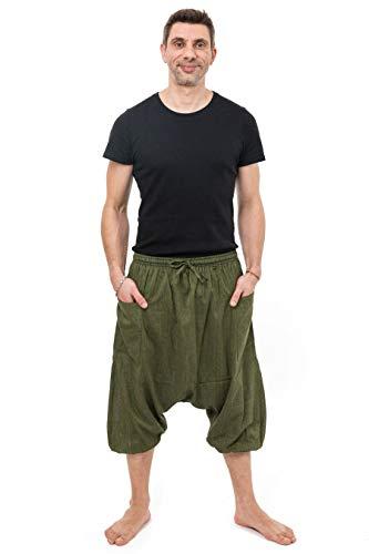 Fantazia Harem broek Bermuda driekwart kaki cool – eenheidsmaat – 100% katoen – kaki – basic – comfortabel & origineel – gemaakt in Frankrijk – harem pants