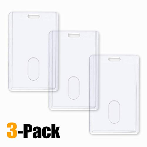3 Pack - Vertical Heavy Duty ID Badge Holders by Vetoo, Hard Plastic Clear Acrylic with Thumb Slots - Holds 2 Cards