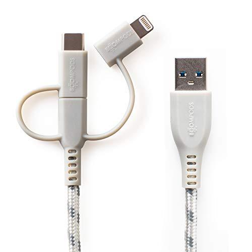 BOOMPODS Trio Armour Cable 3 en 1 - Cable de iluminación, USB-C y Micro USB con cable trenzado armadura de 1,5 metros (Titanio)