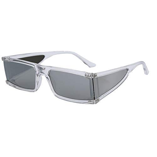 ShSnnwrl Único Gafas de Sol Sunglasses Gafas De Sol Pequeñas Rectangulares De Moda para Mujer, Espejo De Lujo, Plateado, Negro, L