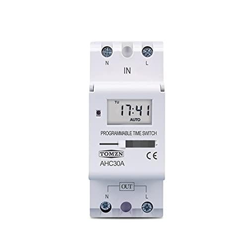 Jgzwlkj Relé Nuevo Tipo DIN Rail 2 Wire Weekly 7 días programable Digital Interruptor DE Tiempo Control de Temporizador de relevo AC 220V 230V 12V 24V 48V 16A (Current Range : 15A, Size : 220V AC)