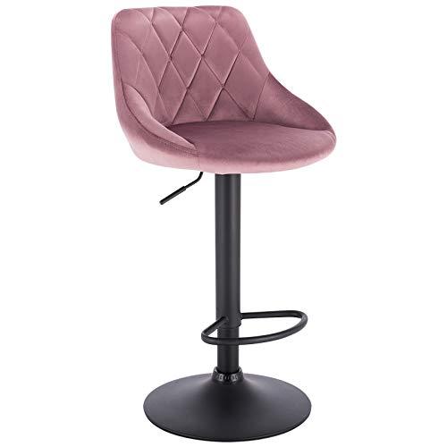 WOLTU Bar Stool Pink Bar Chair Breakfast Dining Stool Chair for Kitchen Island Counter Velvet Exterior, Adjustable Swivel Gas Lift, Steel Footrest & Base