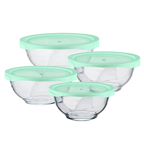 Luvan Glass Salad Bowls with Lids,Set of 4/Glass Mixing Bowls...