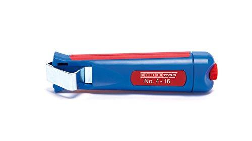WEICON 50050116 Tools Couteau 4-16 / Outil à dégainer pour câbles Ronds de 4 à 16 mm de diamètre, Bleu/Rouge, 140 mm