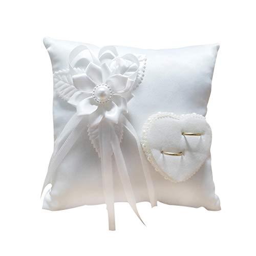 Alliance Coussin Décoration Romantique Carré Blanc Fleur Perle Camélia Coussin Coeur pour Boîte à Bague Accessoires de Mariage (sans anneau)