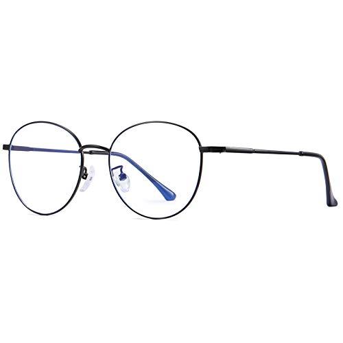 Benefast Blaulichtfilter Brille Damen Herren ohne stärke Computerbrille Gaming Brille Blaufilter PC Brille Bluelight Filter Augenbelastung Reduzieren (Schwarz)