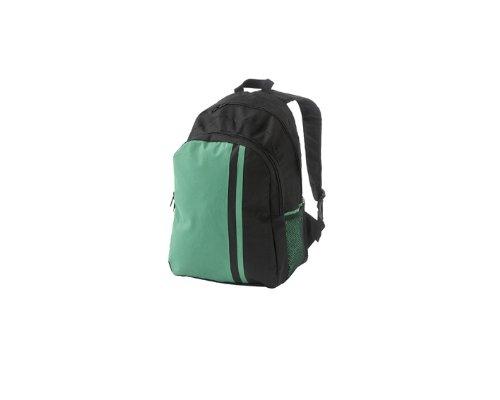 Sac à dos en toile nylon 44 x 30 x 19 cm de couleur Noir/Vert - Visiodirect -