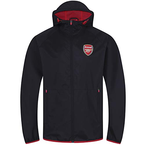 Arsenal FC Official Gift Mens Shower Jacket Windbreaker Peaked Hood Black Large