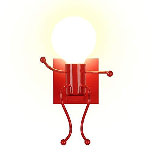 YOXANG 40W LED Wandleuchte Moderne Kreativ Nachttischlampe Wände Dekorieren Metall Karikatur Mini-Puppe Anwendbar auf Schlafzimmer Flur Wohnzimmer Küche Stilvolles Wandlampe E27 (Rot,Single)