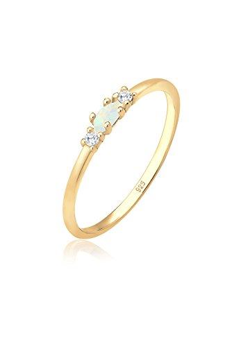 Elli Ring Damen Vintage mit Zirkonia Kristallen und Opal in 925 Sterling Silber vergoldet