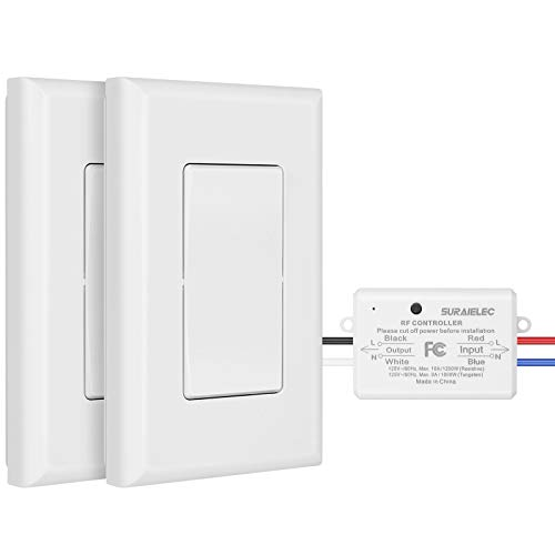 Suraielec 3 Way Wireless Light Switch, No Wiring, No WiFi, 100ft RF Range, Pre-Programmed, Expandable Wireless Wall Switch and Receiver Kit, Remote Control Light Fixture for Lamp, Ceiling Light, Fan
