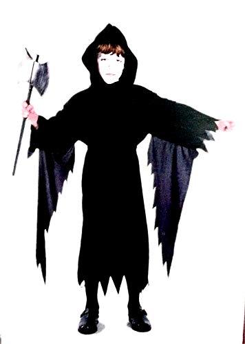 Costume Carnevale Demone nero Cappuccio Morte Diavolo Bambino S M  5 7 anni Idea Regalo Natale Compleanno Festa