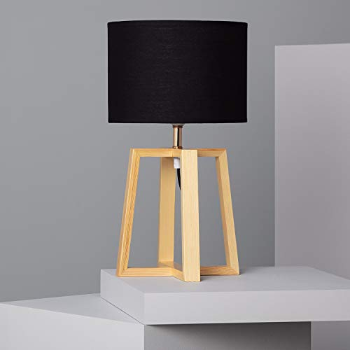LEDKIA LIGHTING Lámpara de Mesa Korsade 460x250 mm Negro E27 Casquillo Gordo Téxtil - Madera Decoración Salón, Habitación, Dormitorio