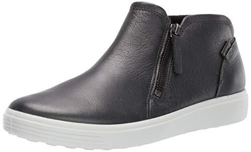 ECCO Women's Soft 7 Zip Bootie Sneaker, Black Dark Shadow Metallic, 6-6.5
