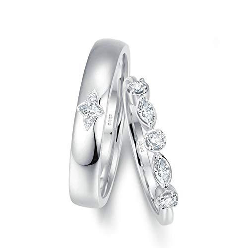 KnSam Anillo Oro Blanco de 18K, Brillar Puntadas Anillo de Compromiso con Diamante Blanco 0.062ct, Mujer Talla 23,5 y Hombre Talla 22 (Precio por 2 Anillos)