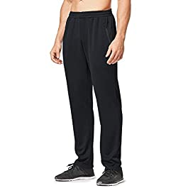 BALEAF Men's Athletic Sweatpants Running Training Sports Pants Zipper Pocketed Open-Bottom Jogging Pants