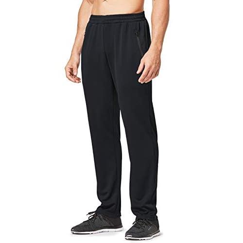 BALEAF Men's Athletic Sweatpants Running Training Sports Pants Zipper Pocketed Open-Bottom Jogging Pants