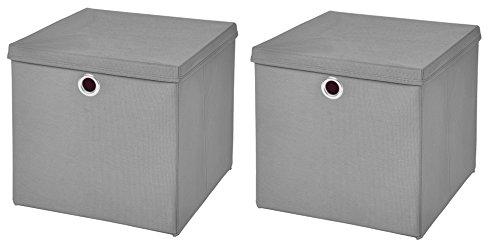 StickandShine 2er Set Hellgrau Faltbox 28 x 28 x 28 cm Aufbewahrungsbox faltbar mit Deckel