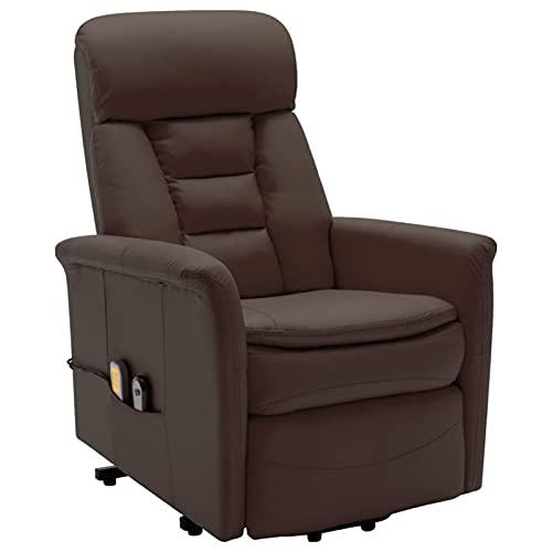 Susany Sillón de Masaje reclinable de Cuero sintético marrón Sillón reclinable butaca