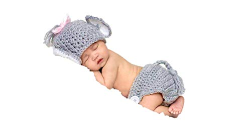 Newborn Baby Girl/Boy Crochet Knit Costume Photography Prop Hats Outfits (Baby Girl Elephant)