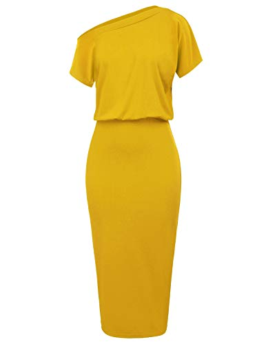 Women's One Off Shoulder Ruched Bodycon Party Pencil Dress Size M Yellow CL037-4