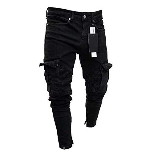 Jeans Herren Denim Skinny Motorrad Jeans Frayed Slim Pocket Overalls Distressed Ripped Jeans Hosen Hip Hop XXL Schwarz