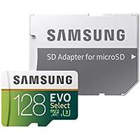 Samsung EVO Select - Tarjeta de Memoria microSDXC de 128 GB con Adaptador SD, 100 MB/s, U3, Color Verde y Blanco