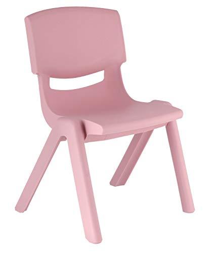 Bieco Kinderstuhl aus Kunststoff Rosa mit Rückenlehne, bis 100 kg belastbar, stapelbar, kippsicher, für innen und außen, robust, schadstoffrei, viele Farben, 04201807