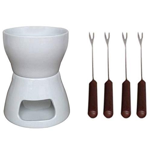 CUHAWUDBA Keramik Schokofondue Set mit Gabeln Teelicht Porzellan Schmelztopf