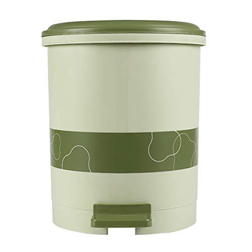 Tingting1992 Cocina de Compost Cocina/Basura Hogar Plástico con Tapa Basura Lata Independiente Baño Sala de Estar Espesor de Basura Paso de Basura Puede (Color : Green, Size : S-6L)