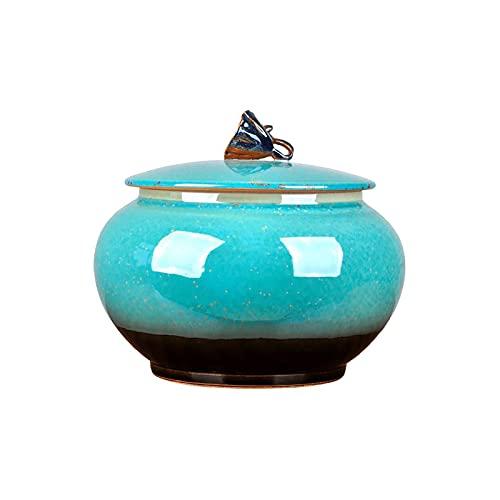 LIUTIAN Jar de Rangement en céramique à la Main avec Couvercle pour Stocker des Biscuits, des Bonbons, du café, de la Farine, du Sucre, du Riz, des pâtes, des céréales et Plus
