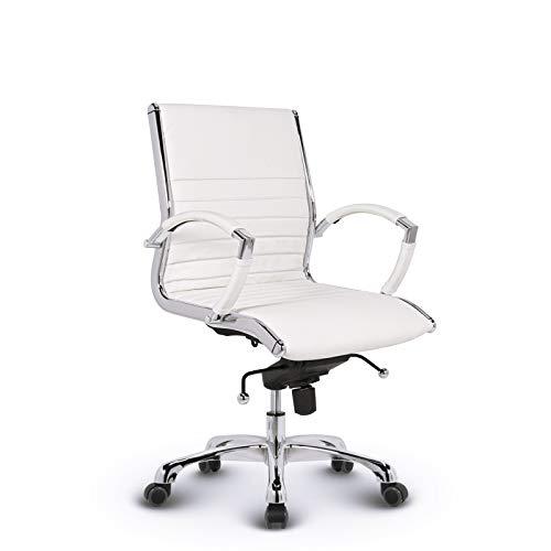 VERSEE Design Bürostuhl Montreal - Echt-Leder - weiß - Konferenzstuhl, Meetingstuhl, Drehstuhl, Bürodrehstuhl, Schreibtischstuhl, Designklassiker, hochwertige Verarbeitung, 150 kg belastbarkeit