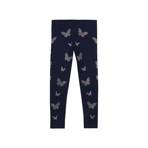 17985790f Kids Girls' navy diamante butterfly leggings