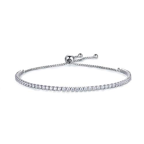Kämise Pulsera de plata para mujer, plata de ley 925 con circonita cúbica de corte de diamante,...