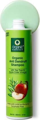 Champú anticaspa Organic Harvest con árbol de té y vinagre de sidra de manzana para hombres y mujeres | Adecuado para todo tipo de cabello 250ml