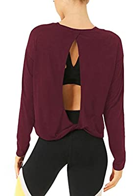 Bestisun Long Sleeve Workout Shirts Open Back Workout Tops Exercise Clothes for Women Loose Fit Wine Red S