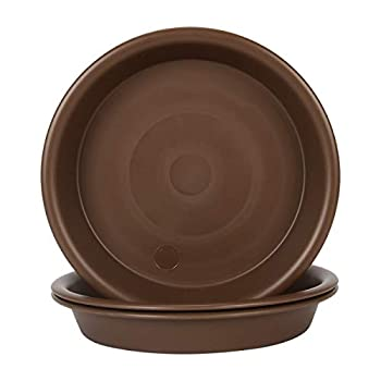 Plant Saucer 12 inch Heavy Large Planter Durable Thicker Plastic Plant Trays for Indoors and Outdoor Plant Saucer Drip Trays,Brown  12  - 3 Pack