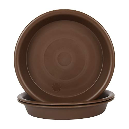 Plant Saucer 14 inch, Heavy Large Planter Durable Thicker Plastic Plant Trays for Indoors and Outdoor, Plant Saucer Drip Trays,Brown (14' - 3 Pack)