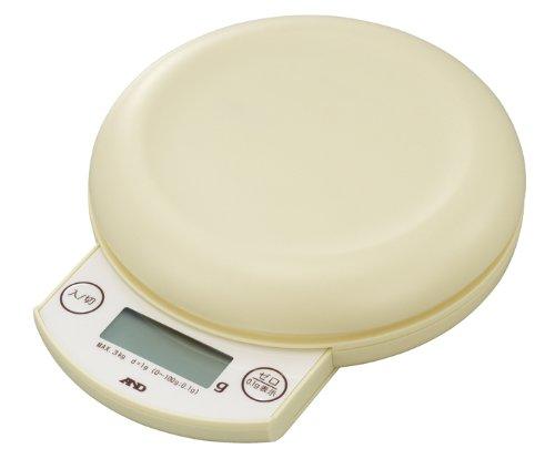 A&D デジタルホームスケール 3kg クリーム UH-3203-W ≪ひょう量:3000g 最小表示:0.1g(0.5~100g)/1g(2~3000g)≫