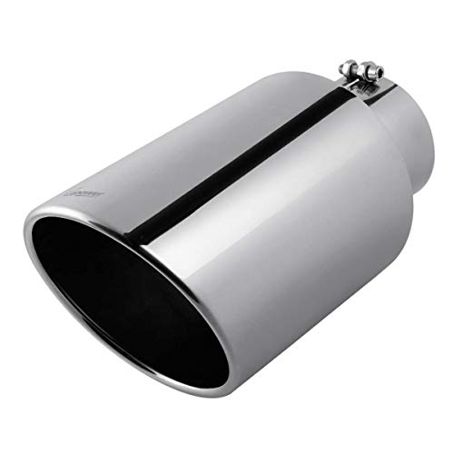 Universal Diesel Trucks Car 5 Inch Inlet 8' Outlet Exhaust Tip 15' Long Tail Pipe Stainless Steel Polished Bolt On