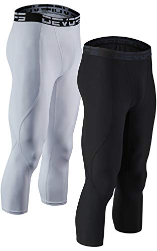 DEVOPS 2 Pack Men's 3/4 Compression Pants Athletic Leggings (Large, Black/White)