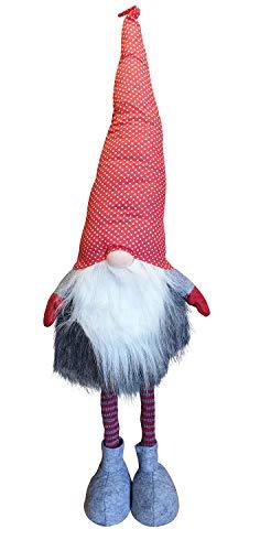 Fachhandel Plus Wichtel mit ausziehbare Teleskop-Beine Dekofigur Weihnachten Zwerg Zipfelmütze