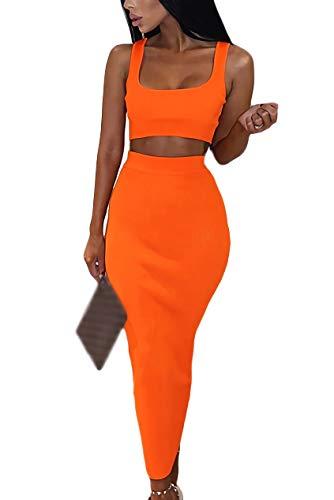 Velius Women's Scoop Neck Neon Bodycon Two Piece Pencil Maxi Dress Clubwear Outfits (Orange, Medium)