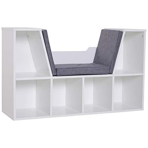 HOMCOM Bibliothèque Banc 2 en 1 Design Contemporain 6 casiers 3 Coussins fournis 102L x 30l x 61H cm Blanc Gris chiné
