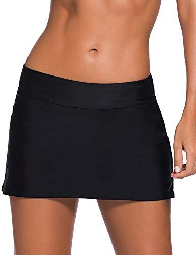 REKITA Women Swim Skirt Solid Color Waistband Skort Bikini Bottom Black Medium