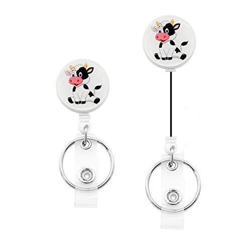 Cute Cow Badge Reel Retractable Cow Name Card Badge Holder with Alligator Clip (RB-Cow)